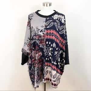 Free People Pieced With Paisley Tunic Fringe M/L
